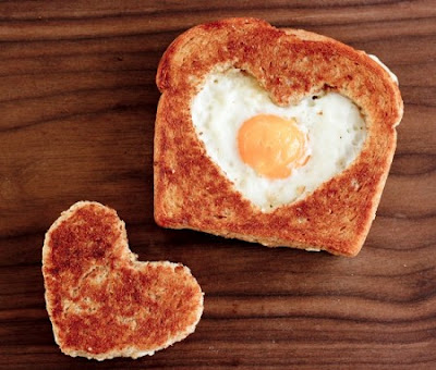 Heart shaped toast and egg