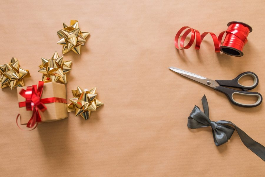 Present, bows, and scissors