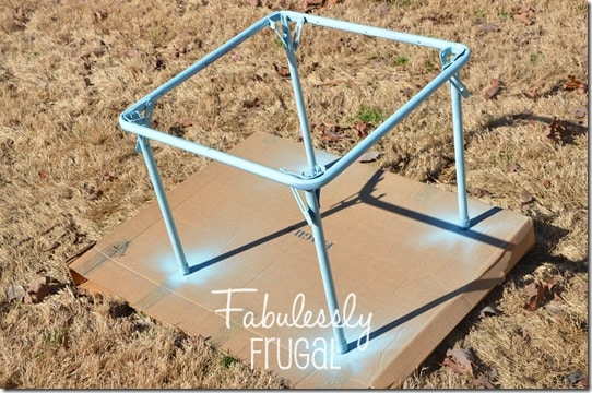Second coat of spray paint for the folding table makeover