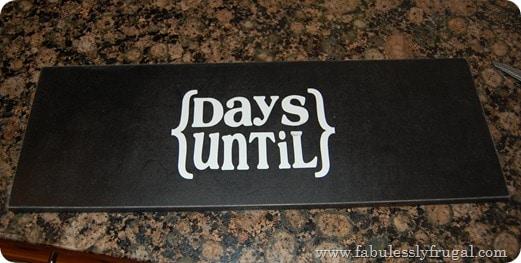 Finished chalkboard countdown