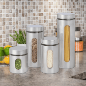 Amazon: 4-Piece Brushed Stainless Steel and Glass Canisters $15.75 (Reg....