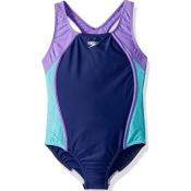 Amazon: Speedo Girls Mesh Splice Thick Strap One Piece Swimsuit, Blue Harmony...