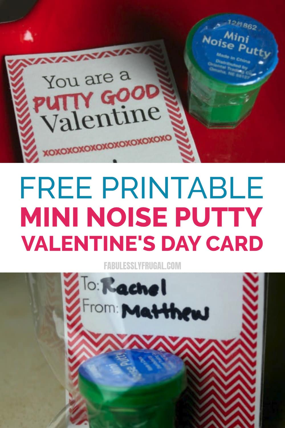 free printable mini noise putty card for valentines day