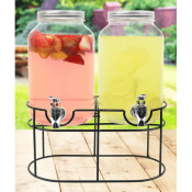 Amazon: 1 gallon Glass Mason Jar Double Beverage Drink Dispenser On Metal...