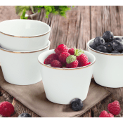 Walmart: Set of 4 Mainstays Rose Gold Trim White Porcelain Fruit Bowls...