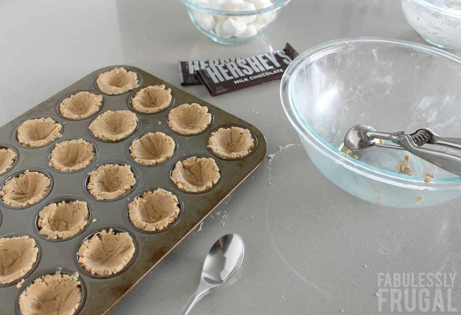 Cookie cups in baking sheet