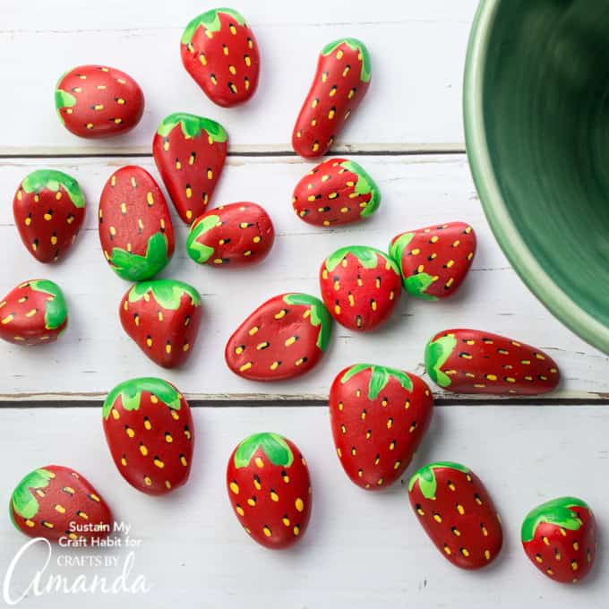 Strawberry painted rocks