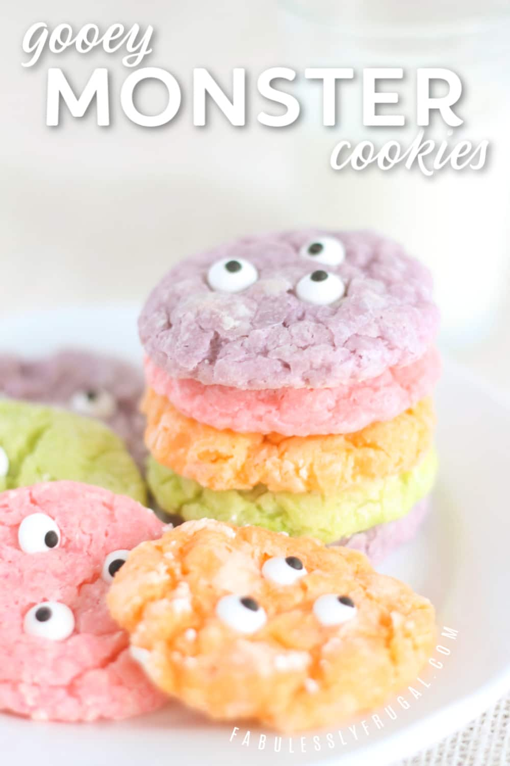 Gooey monster cookies with eyes