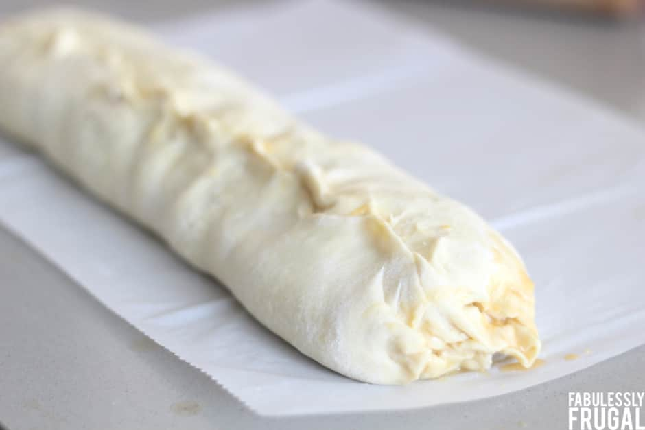 Rolled peach strudel