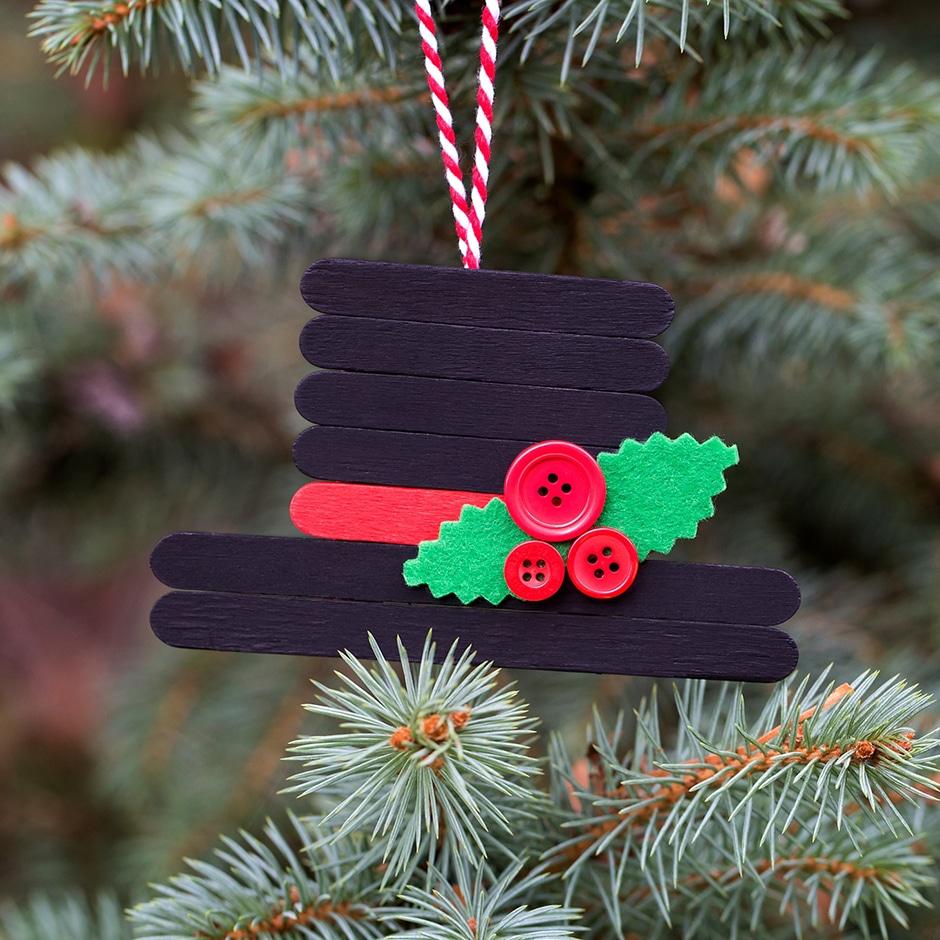 Craft stick snowman hat ornament