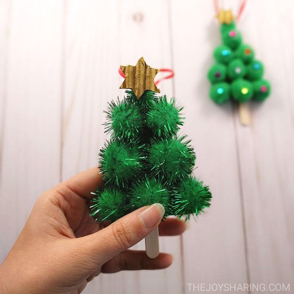 Pompom Christmas tree ornament craft for kids