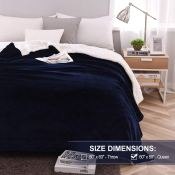 Amazon: Reversible Plush Sherpa Blanket, Navy Blue, Twin Size $20.39 After...