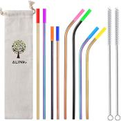 Amazon: Set of 8 Stainless Steel Metal Straws with Silicone Tips + 2 Cleaning...