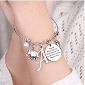 Amazon: Initial Charm Bracelet with Engraved Inspirational Quote from $5.60...
