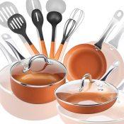 Amazon Cyber Week: Shineuri 9-Piece Pots and Pans Copper Cookware Set $31...