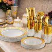 Amazon Holiday Deal: 150 Piece Gold Disposable Tableware Set $25.99 After...