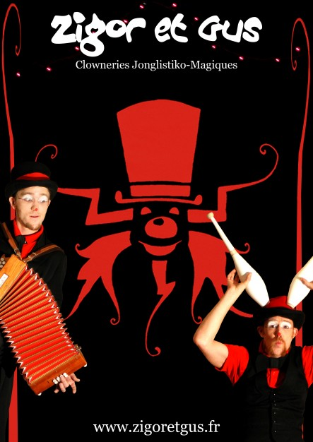 affiche spectacle zigor et gus clown jongleur