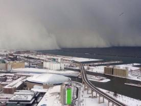 VIEW OF WALL OF SNOW FROM DOWNTOWN BUFFALO