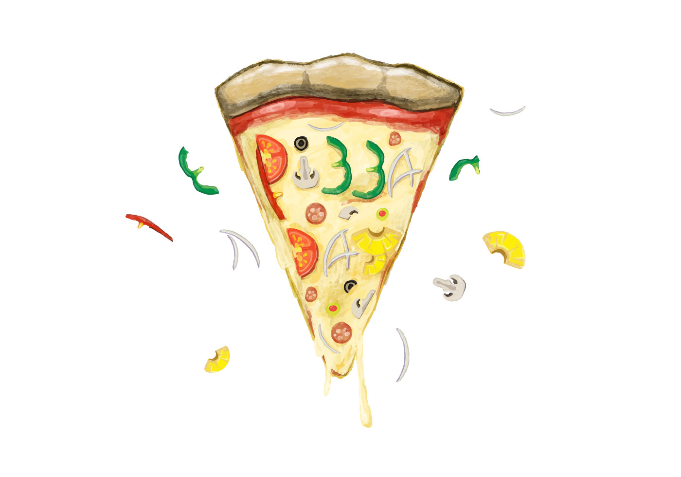 """Watercolor pizza with text """"National Pizza Day Lexington Kentucky Edition"""""""
