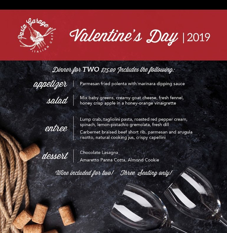 The Valentine's Day 2019 menu for Pasta Garage in Lexington, Kentucky