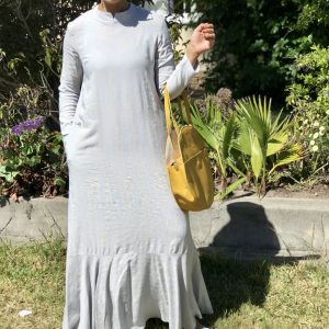 Light Grey Circular Frill Dress