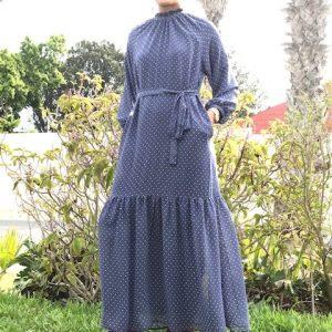 Navy Dots Chiffon Dress