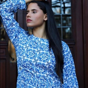 Moroccan Tile Print Viscose Dress