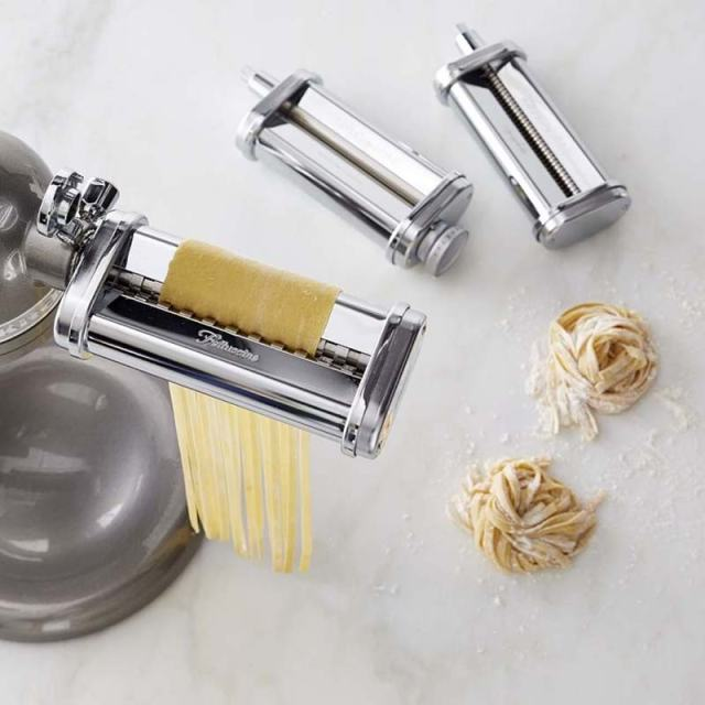 Making homemade fettuccine with the KitchenAid Fettuccine attachment