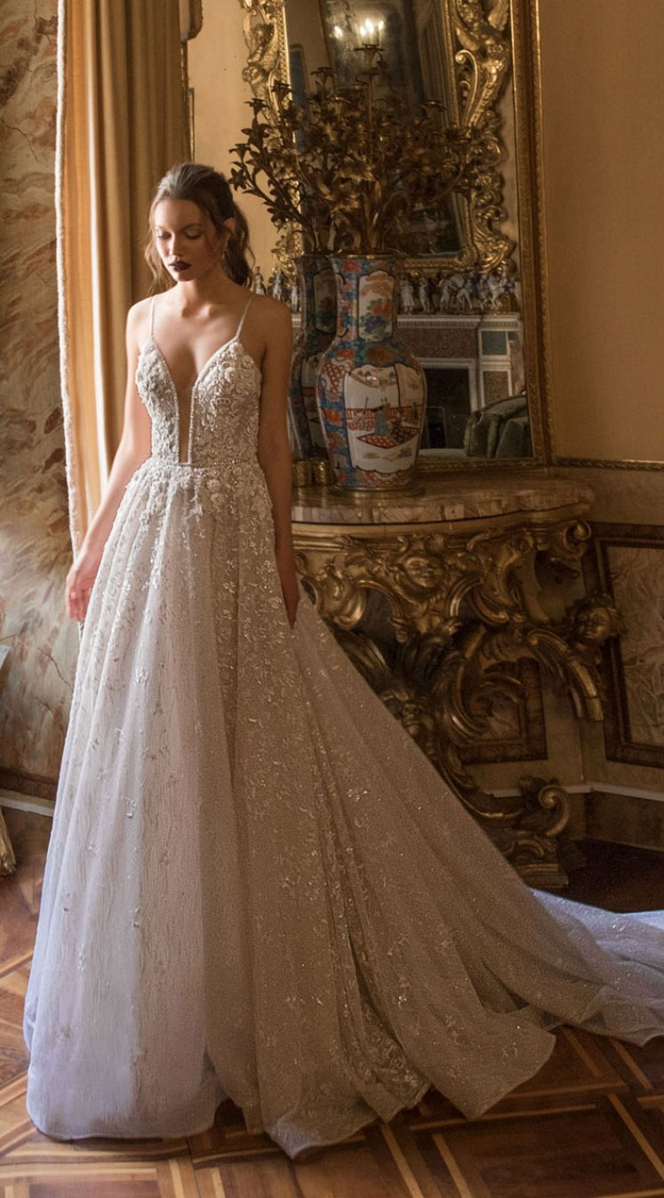 20 Elegant wedding dresses to die for - Beautiful and elegant thin straps  a line wedding dress #wedding #weddingdress #weddinggown