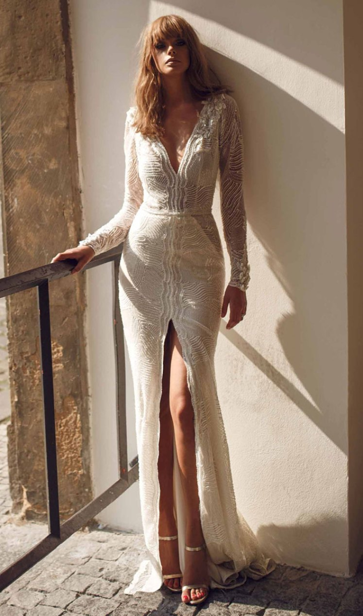 20 Elegant wedding dresses to die for - Beautiful and elegant long sleeve deep v neckline a line wedding dress #wedding #weddingdress #weddinggown