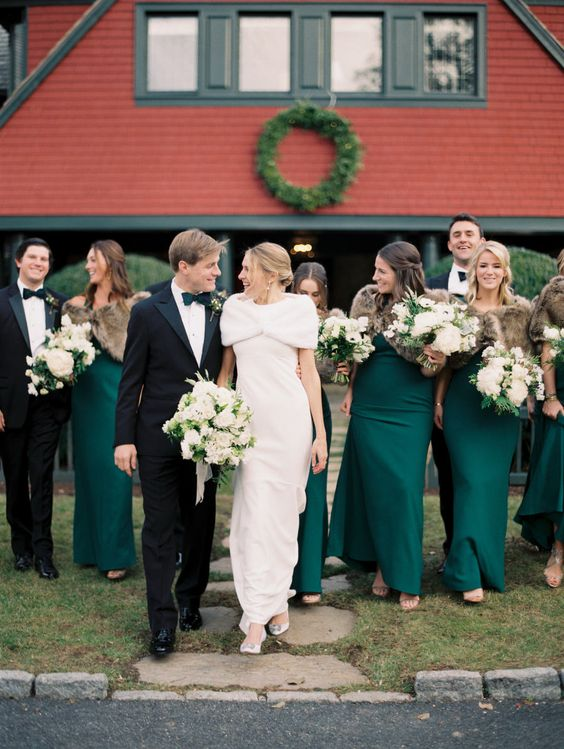 green emerald bridesmaid dresses, winter bridesmaid dresses