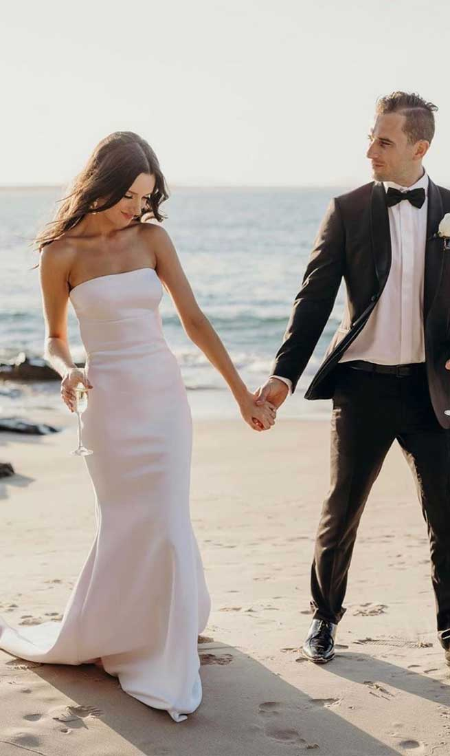 32 Beach Wedding Dresses Perfect For A Destination Wedding, simple wedding dress ,strapless wedding gown #weddingdress #weddinggown mermaid wedding gown