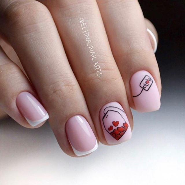 best nail art ideas for Valentine's day 2020 - 10, valentine nails 2020, valentines day nails 2020, valentine's day acrylic nails, valentine gel nails, valentines day nails 2020, nail designs, heart nail art , pink nail art, pink nail colors, simple heart nail designs, easy heart nail art, heart nail designs for short nails, heart tip nails, heart toe nail designs, pink nails with red hearts