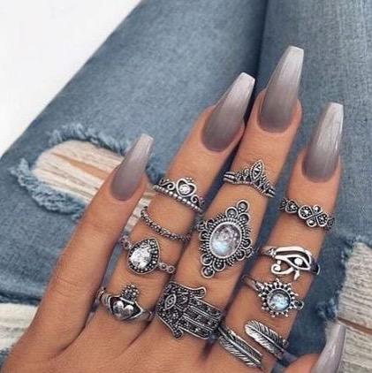 100 spring nail art ideas 2020, creative nail art designs, pink nail art ideas, best spring nails 2020, mismatched nail art designs, spring nail art designs, nail art designs #nailart #springnails ombre grey nails