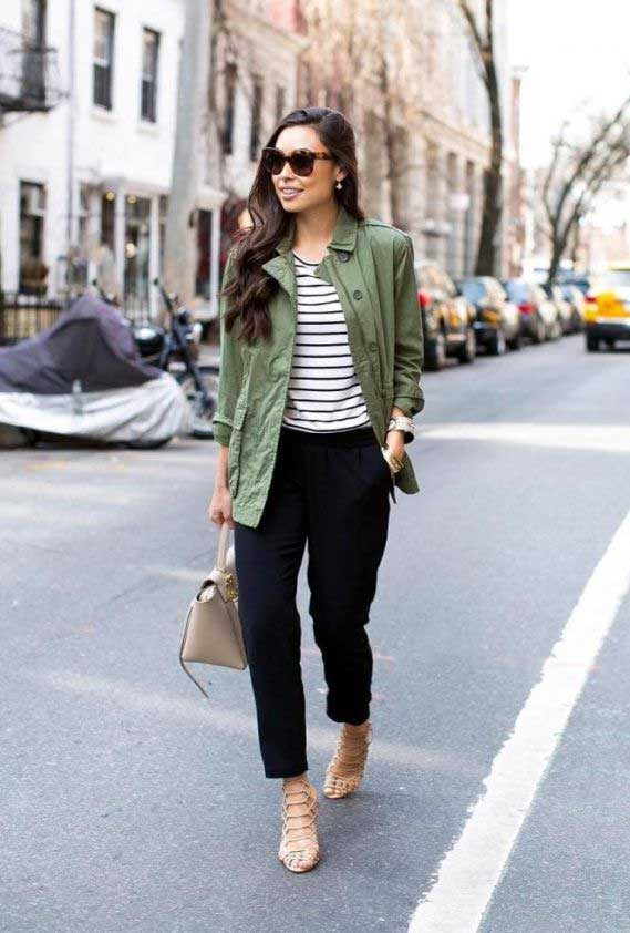 What to wear with a green jacket outfit - khaki green jacket womens, dark green jacket womens, dark green coat women's, green jacket outfits, jacket outfis, combat style jacket womens