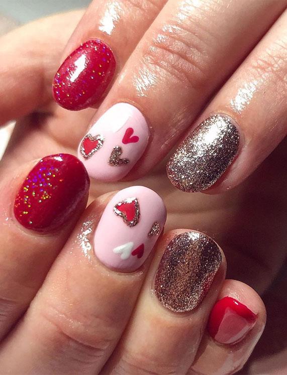 best nail art ideas for Valentine 2020 - , valentine nails 2020, valentines day nails 2020, valentine's day acrylic nails, valentine gel nails, valentines day nails 2020, nail designs, heart nail art , pink nail art, pink nail colors, simple heart nail designs, easy heart nail art, heart nail designs for short nails, heart tip nails, heart toe nail designs, pink nails with red hearts