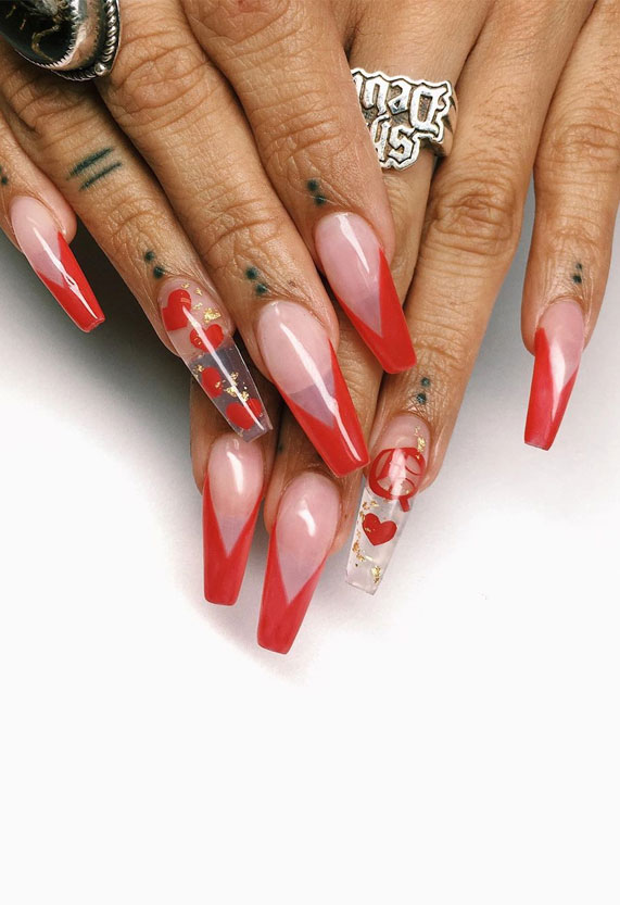 best nail art ideas for Valentine 2020 - , valentine nails 2020, valentines day nails 2020, valentine's day acrylic nails, valentine gel nails, valentines day nails 2020, nail designs, heart nail art , pink nail art, pink nail colors, simple heart nail designs, easy heart nail art, heart nail designs for short nails, heart tip nails, heart toe nail designs, pink nails with red hearts