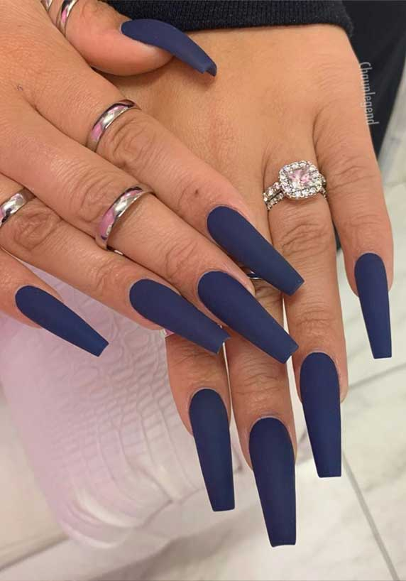 #coffinnails nail art , nail designs, long nails, ombre nails, acrylic nail art , acrylic nail designs, best nails 2020, summer nails 2020 #acrylicnails #ombrenails dark blue nails