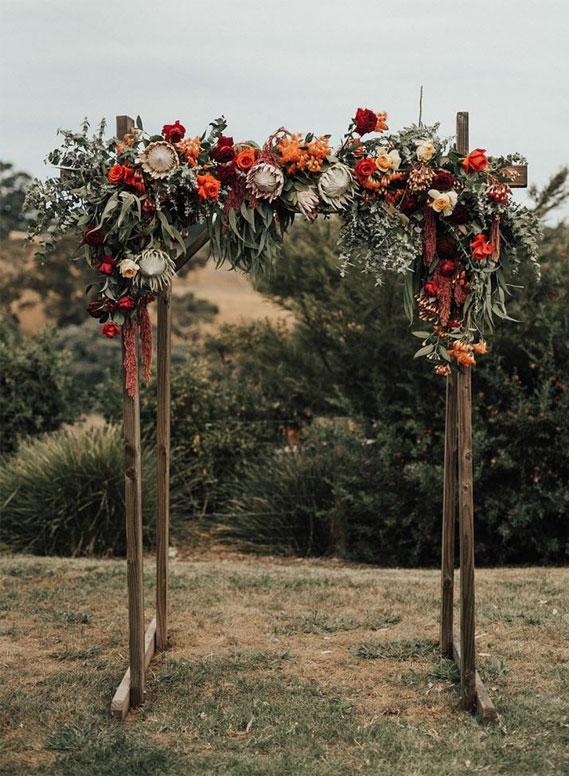 Autumn wedding color palette in dark blue & autumn colors, autumn wedding arbor , fall wedding arch #weddingarch #weddinarbor fall wedding , wedding #weddingideas