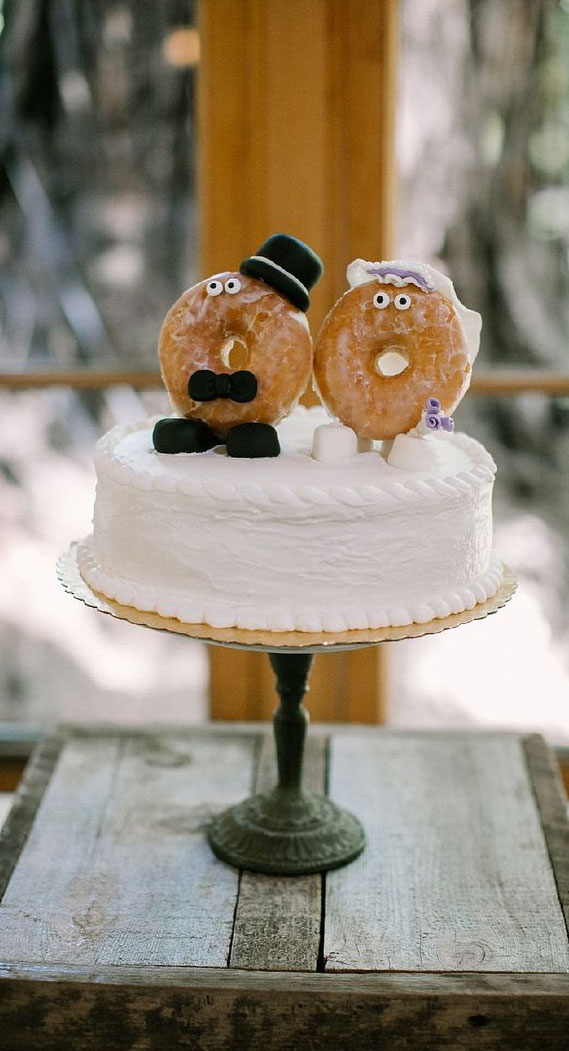 8 Awesome wedding cake with donuts #weddingcake wedding cake with donuts, alternative wedding cake, wedding cake , wedding cake ideas, alternative wedding cakes , wedding cakes 2020 , best wedding cakes 2020, single tier wedding cake, simple wedding cake