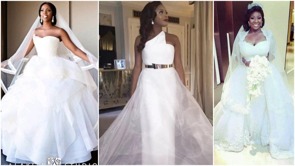 Nigerian Celebrities Unique Wedding Dresses