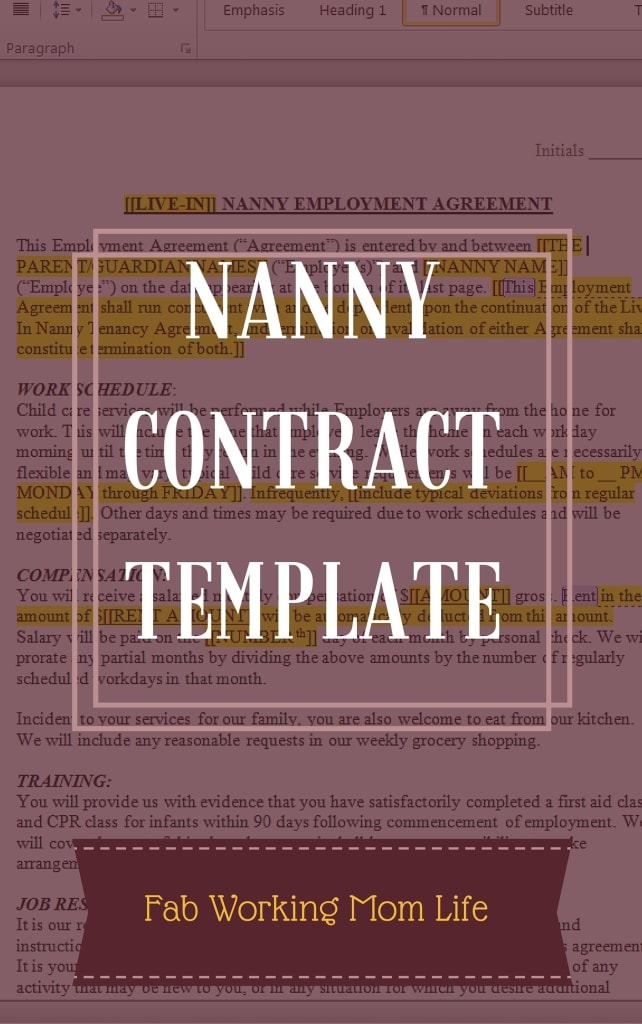 Standard Nanny Contract