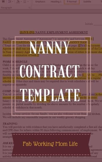 Nanny Contract Template