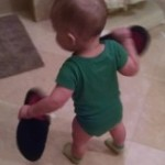 Toddler Running Around with Slippers