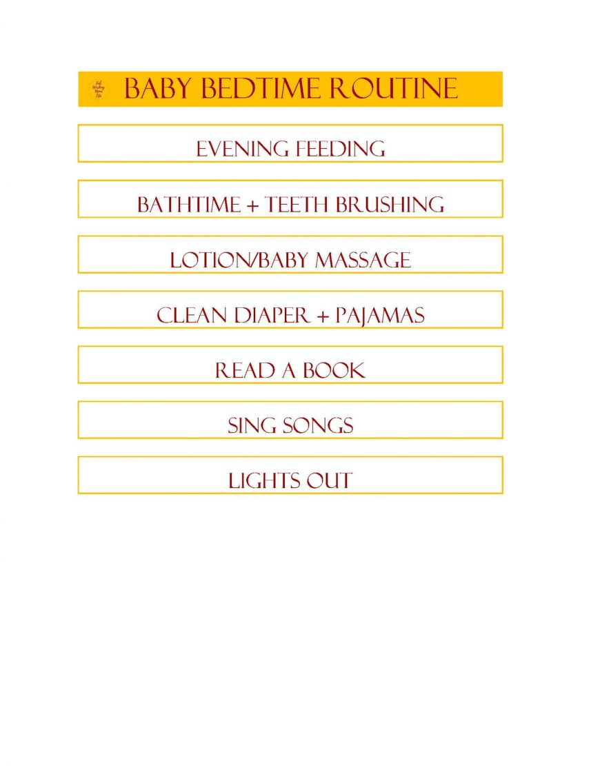 Baby Bedtime Routine Printable from Fab Working Mom Life