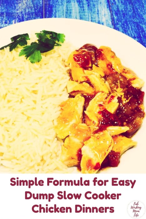 Simple Formula for Easy Dump Slow Cooker Dinners | Fab Working Mom Life | easy chicken dinner | slow cooker chicken dinner | chicken dump dinner | salsa chicken, teriyaki chicken, pineapple chicken recipes #workingmom #chicken #dinner #recipe #familydinner #weeknightdinner dinner ideas family / recipes for family / healthy dinner recipes for family / weeknight dinner / budget meals / budget dinners