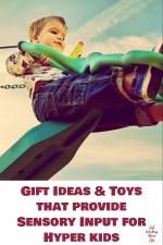 Gift Ideas and Toys that provide Sensory Input for Hyper kids | Fab Working Mom Life #sensory #adhd #hyper #vestibular #proprioceptive #sensoryinput #sensorytoys #giftguide #giftideas
