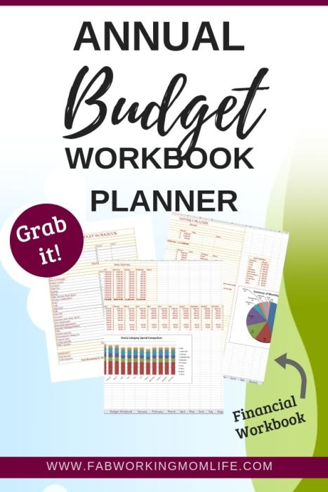 Do you need to get on top of your finances and budget? I bet you'd love to have this annual budget planner spreadsheet! Grab this Yearly Budget Workbook Planner to take control of your finances   Fab Working Mom Life #finances #money #budget #familyfinances #familybudget #organize #workingmom