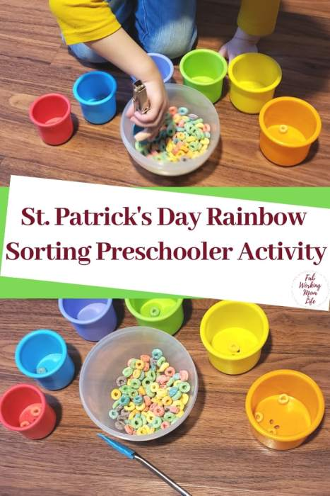St. Patrick's Day Rainbow Sorting Preschooler Activity | Fab Working Mom Life #toddlers #preschoolers #kidsactivity #stpatricksday