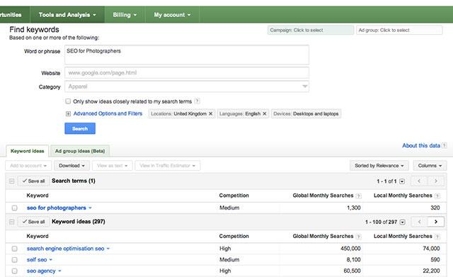 SEO for Photographers: Google Keywords Tool